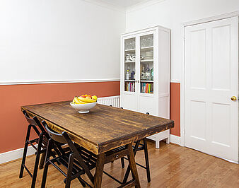 Two-tone walls in the dining room