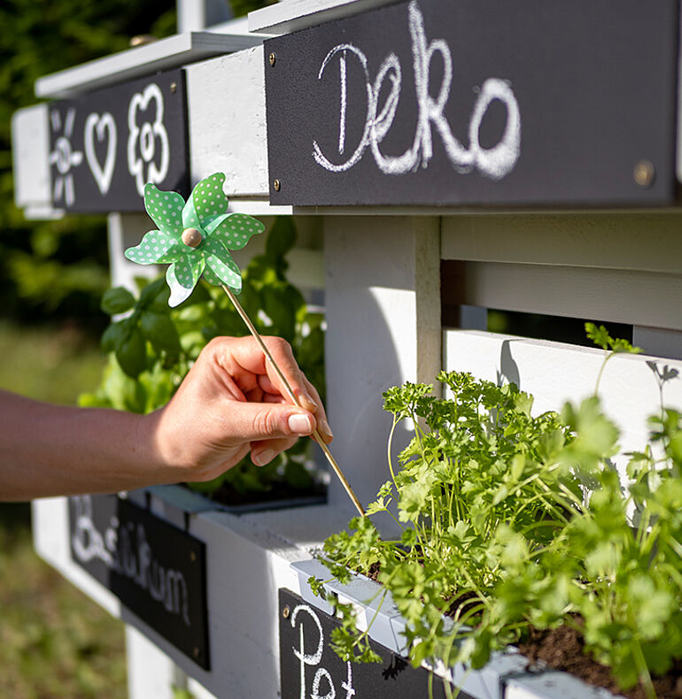 Planting herbs/flowers and inserting the flower boxes