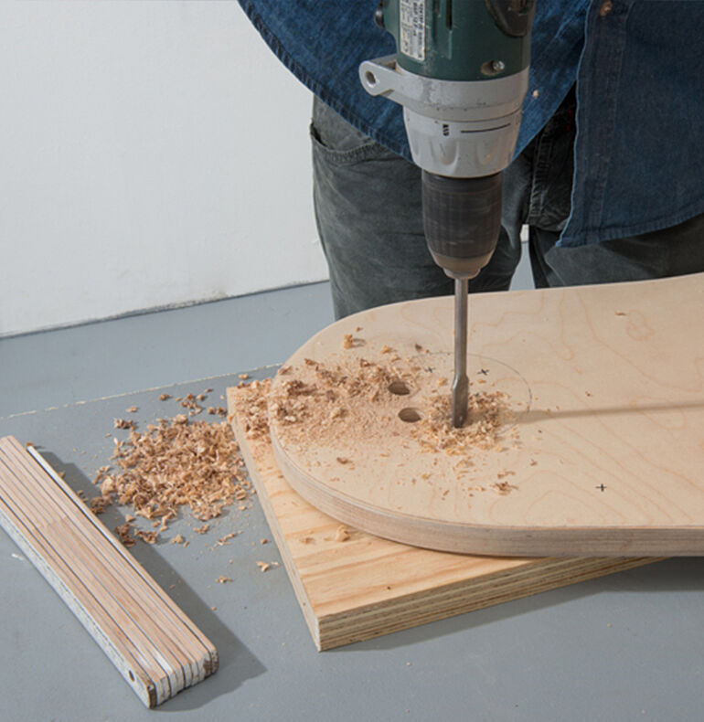 Attaching the half-round wooden strips