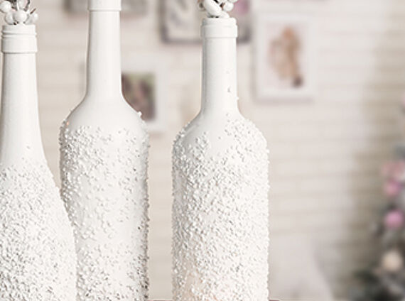 Vases with a snow effect